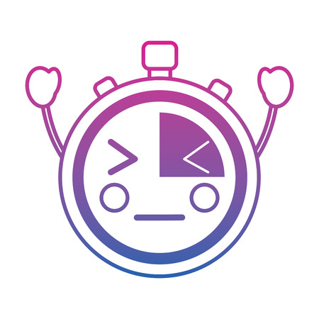 Kawaii chronometer speed timer cartoon character vector illustration color line gradient.