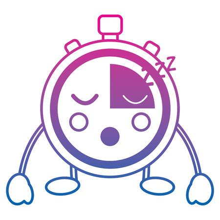 kawaii chronometer speed timer cartoon character vector illustration color line gradient Illustration
