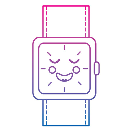 kawaii wrist watch bracelet square cartoon vector illustration color line gradient