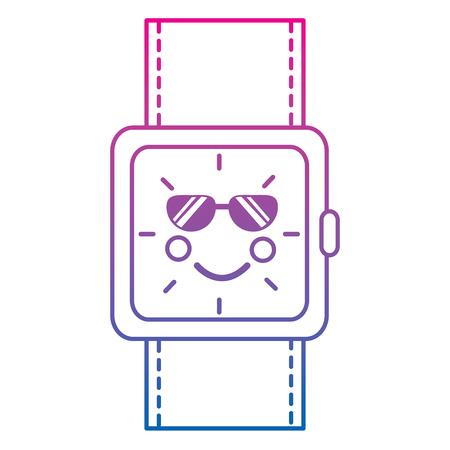 kawaii wrist watch bracelet square cartoon vector illustration color line gradient