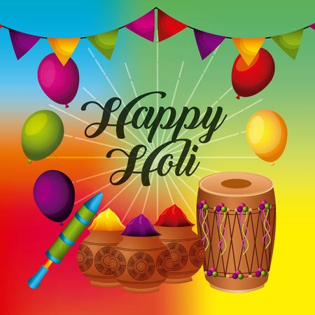 happy holi greeting card with balloons pennant powder color vector illustration