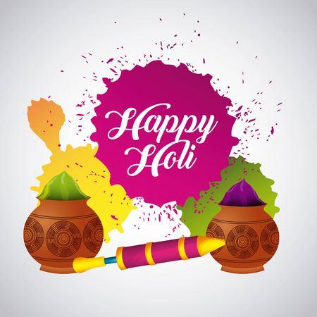 festive celebration powder color for happy holi vector illustration Illustration