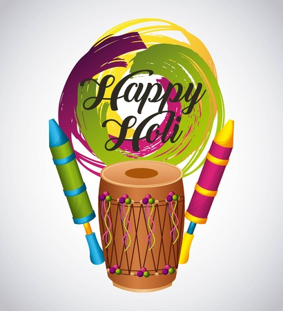 happy holi card with instrument dholak traditional indian vector illustration Imagens - 94074018