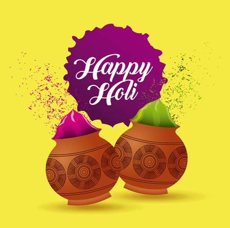 happy holi poster mud pot color filled yellow background vector illustration 向量圖像