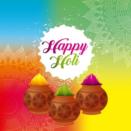 happy holi color powder decorated poster vector illustration