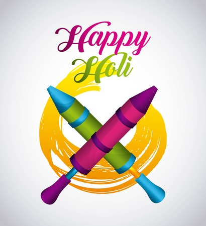 happy holi indian traditional carnival vector illustration