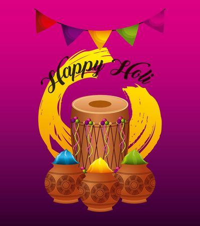 happy holi greeting card dholak gulal powder color vector illustration