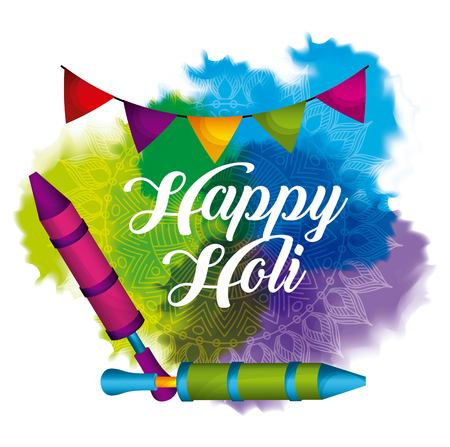 happy holi garland pichkari and watercolor splash vector illustration 向量圖像
