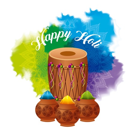 happy holi dholak gulal powder explosion color vector illustration