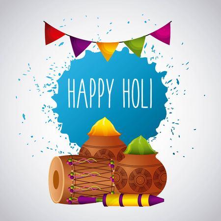 happy holi festival color celebration card vector illustration Illustration