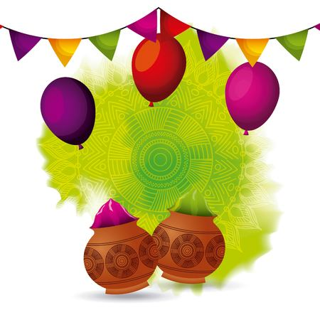 gulal powder color balloons and garland decoration vector illustration Çizim