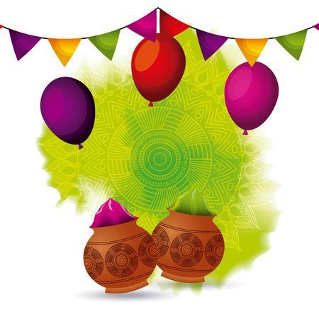 gulal powder color balloons and garland decoration vector illustration Illustration