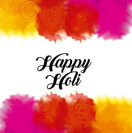 happy holi color gulal powder splashes vector illustration