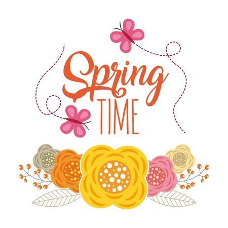 Spring time flying butterfly flowers decoration vector illustration Illustration