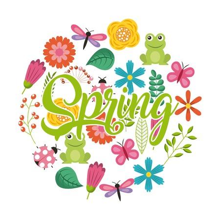 花の動物の装飾シンボルベクトルイラストと春の書通数のテキスト
