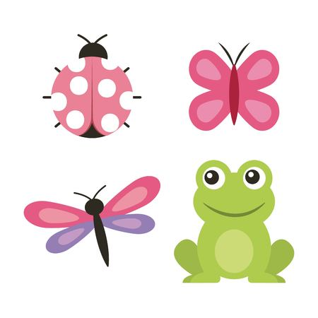Cute frog dragonfly butterfly ladybug vector illustration.
