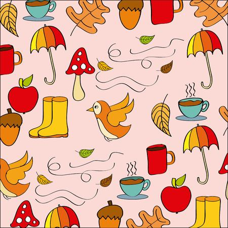 pattern autumn season time icons vector illustration