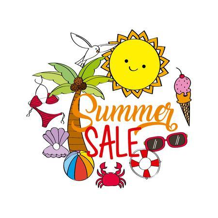 zomer verkoop seizoen aanbieding korting poster met zon palm ijs zonnebril vector illustratie Stock Illustratie