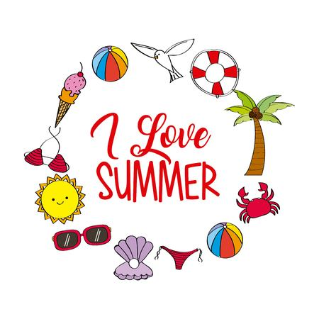 i love summer weather season poster celebration vector illustration