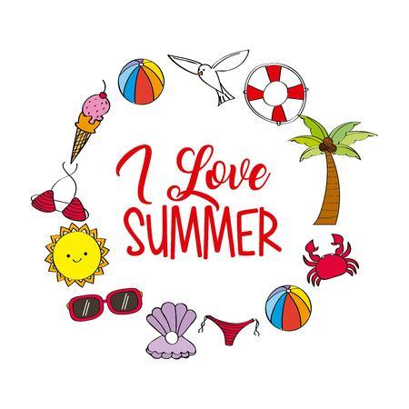 i love summer weather season poster celebration vector illustration