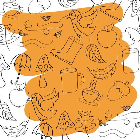 outlined icons seasonal autumn with yellow brush stroke vector illustration