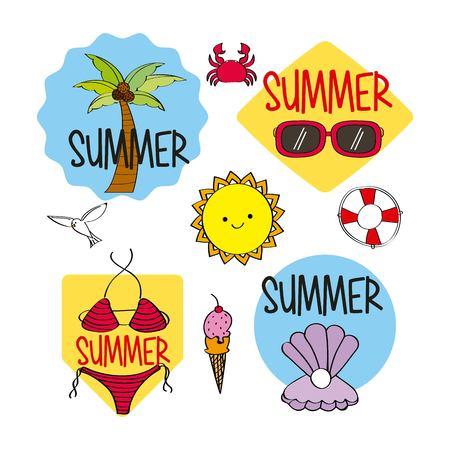 summer season stickers decoration icons vector illustration