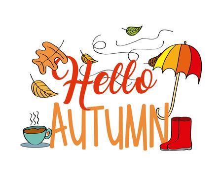 Hallo Herbst Saison Regenschirm Boot Blätter Kaffee Vektor-Illustration Standard-Bild - 94099133