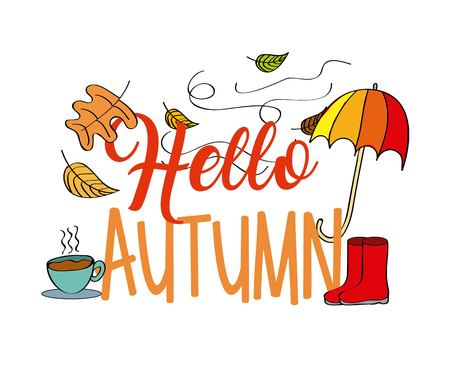 Hallo herfst seizoen paraplu boot verlaat koffie vectorillustratie