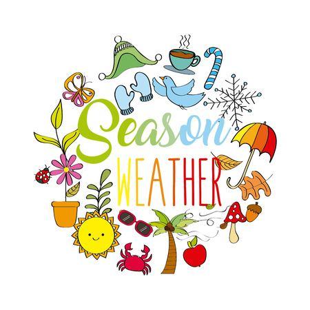 season weather spring winter summer autumn icons vector illustration