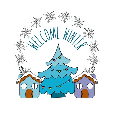 welcome winter pine tree house sweet snowflakes vector illustration Illustration