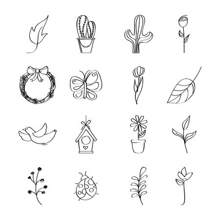 outlined icons decoration spring season vector illustration Ilustrace