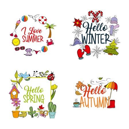 天気シーズン 冬夏秋春ベクトルイラスト