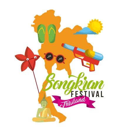 songkran festival thailand map flip flop sunglasses sun sky vector illustration Illustration