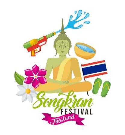 songkran festival thailand buddha flag sandals flower traditional vector illustration