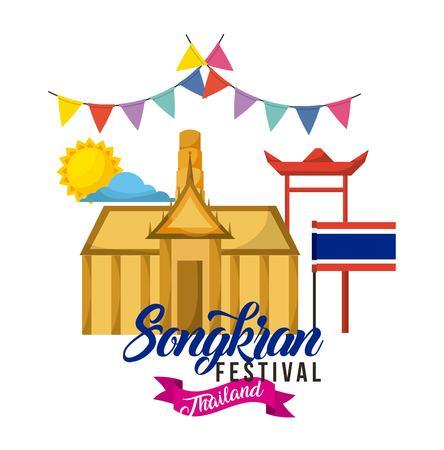 songkran festival thailand building flag pennant sun day vector illustration