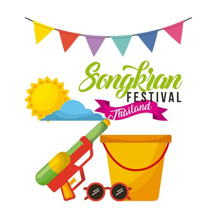 songkran festival thailand bucket sunglasses water garland celebration vector illustration Çizim