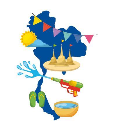 Thaïlande carte de la boussole symbole de l & # 39 ; eau de l & # 39 Banque d'images - 94099263