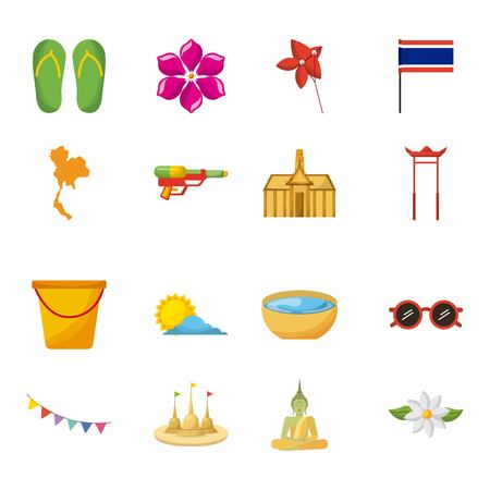 songkran thailand festival celebration icons emblem vector illustration
