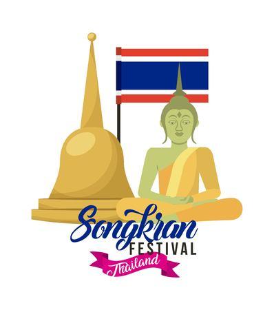 songkran festival thailand poster invitation buddha flag vector illustration