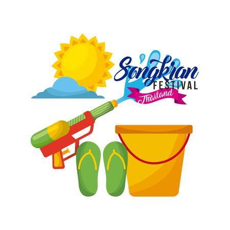 송크란 축제 태국 양동이 물 무기 플립 플롭 햇빛 하루 벡터 일러스트 레이션
