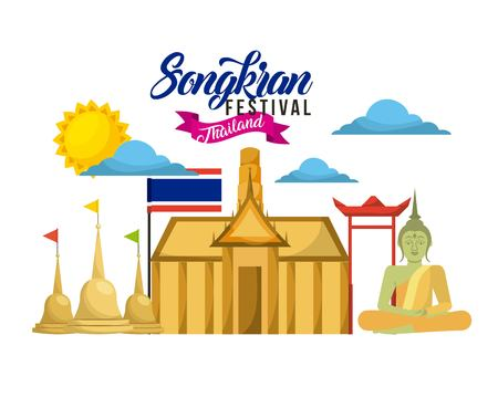songkran festival thailand card landmark buddha flag temple vector illustration Illustration