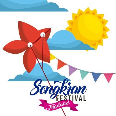 songkran festival thailand red kite flying garland sun day vector illustration