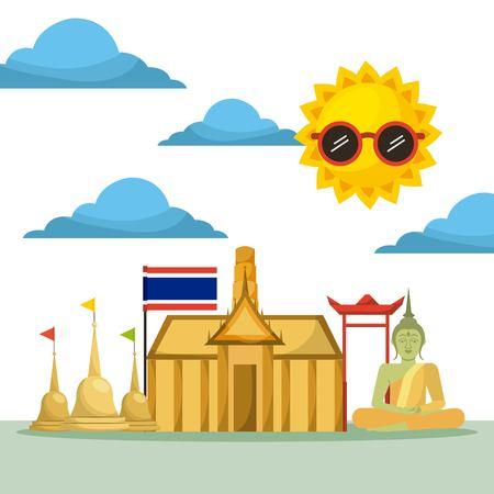 thai building temple flag monument buddha vector illustration Vettoriali