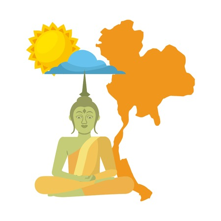 thailand buddha map sun cloud vector illustration Stok Fotoğraf - 94099252
