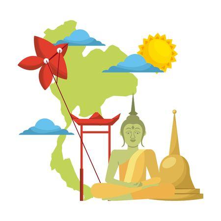 thailand concept festival buddha map kite traditional vector illustration Ilustrace