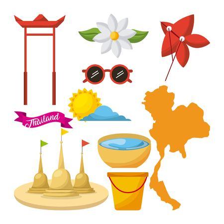 Songkran thailand festival celebration icons emblem vector illustration