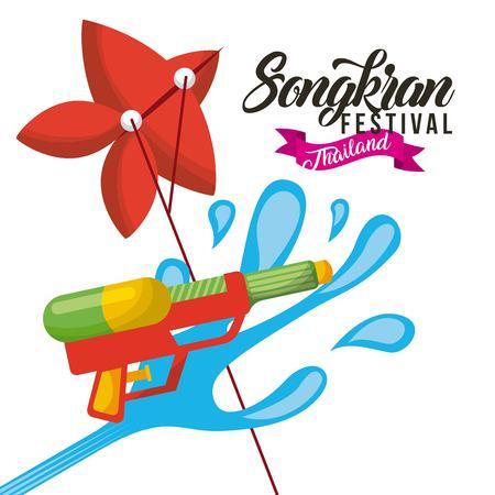 Songkran festival thailand water gun and kite celebration vector illustration