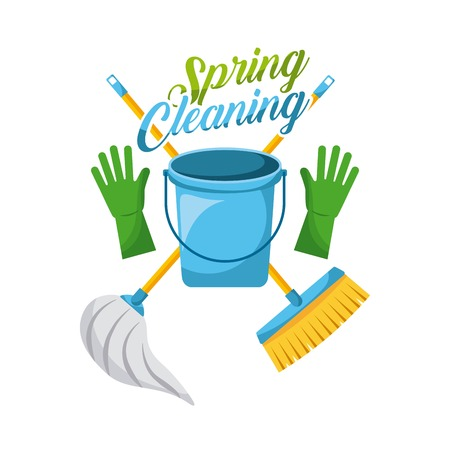 Spring cleaning bucket gloves mop and broom vector illustration
