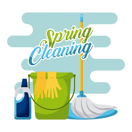 spring cleaning bucket mop gloves and cleaning product vector illustration