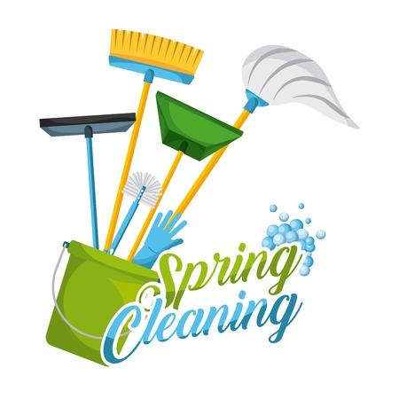 lente schoonmaak brief decoreren en apparatuur huishoudelijke hulpmiddelen vector illustratie Stock Illustratie